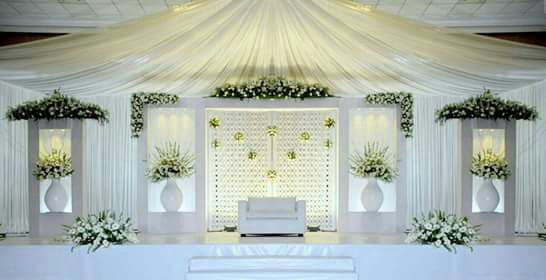Pure White Wedding Stage Decoration at Thejus Wedding Hall Ernakulam
