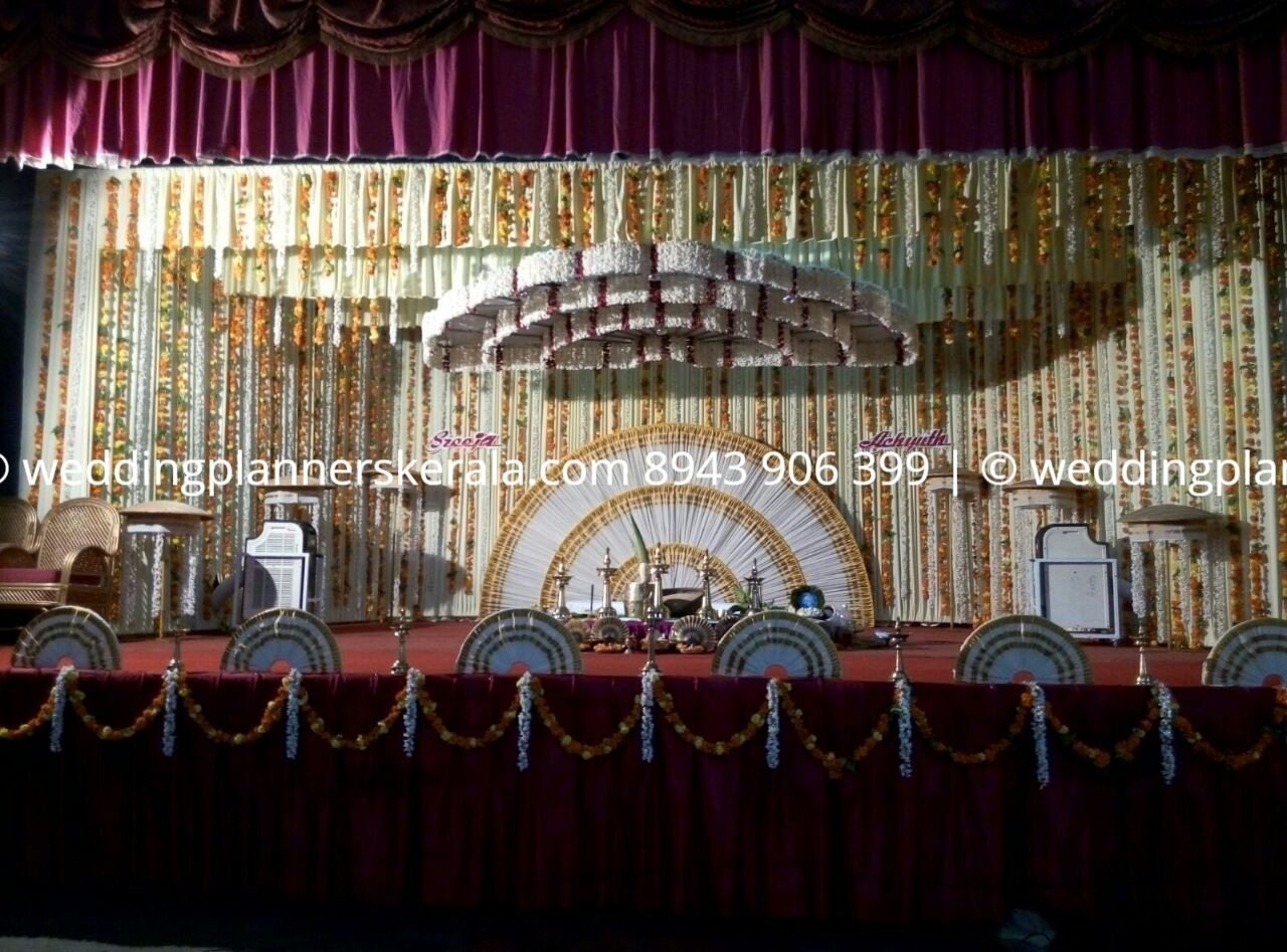 Traditional kasavu Kerala Wedding stage Decoration