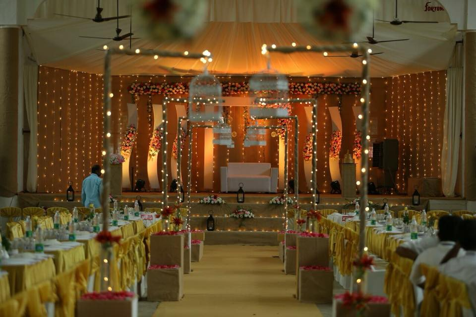 Jute Camel color stage decoration for christian weddings
