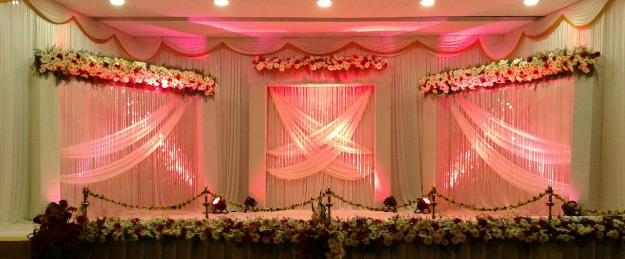 White and Pink Stage Decoration Kerala