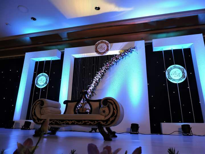 White and dark Blue stage decoration for muslim wedding