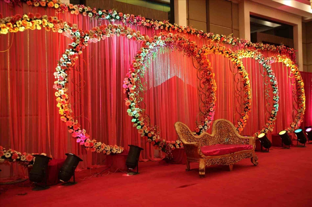 Background  flower arch type stage decoration