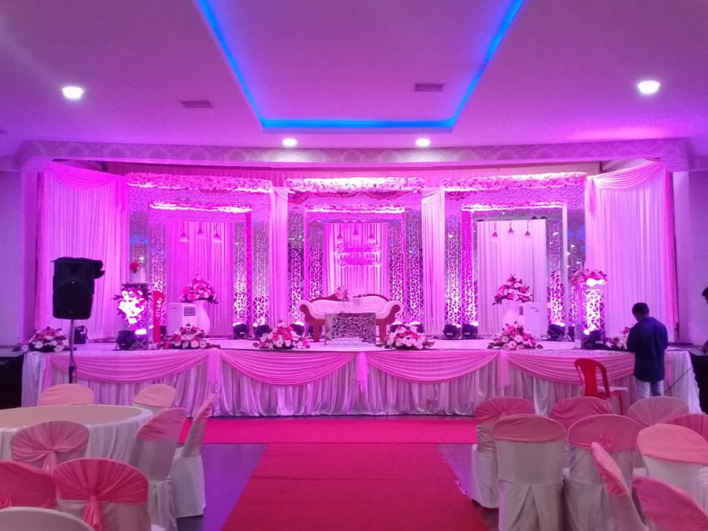 Pink and White Theme Stage Decoration