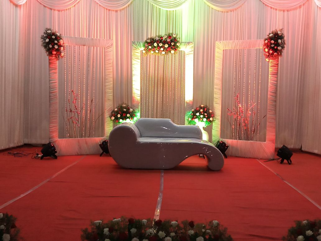 Simple Wedding Stage Decoration For Haldi and Mylanchi