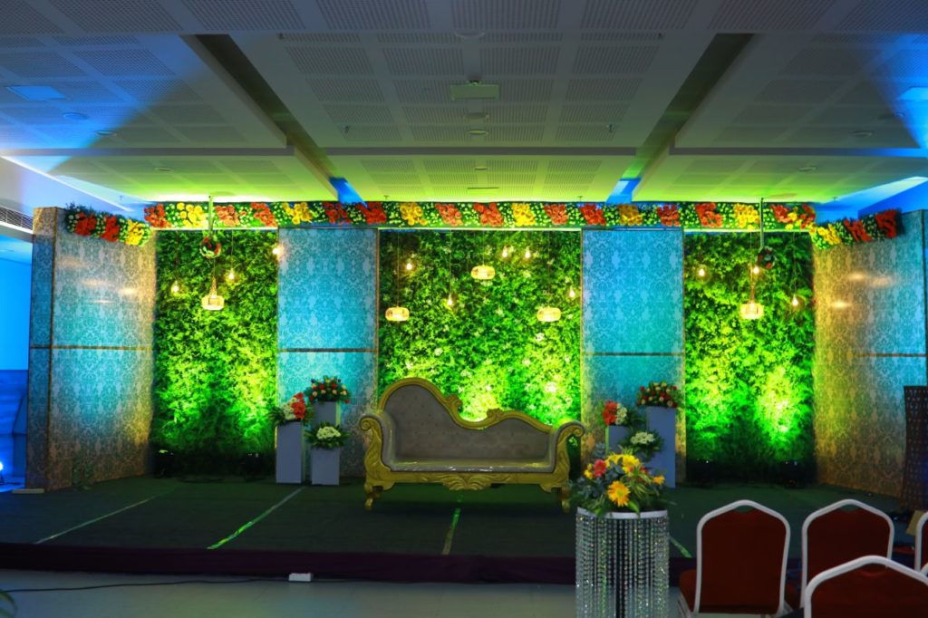 Green and Blue Stage Decoration Kerala