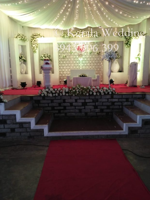 White and red stage Decoration Christian Wedding