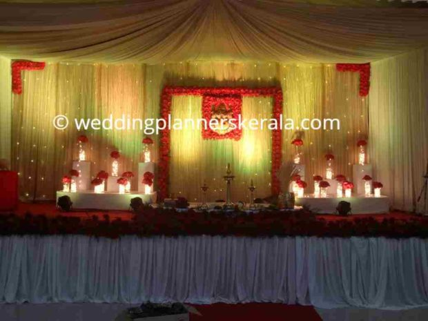 Red Color Theme Stage Decoration Kerala