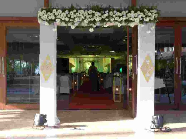 Wedding Entrance Stage Decoration for Reception by Kerala Wedding Planners